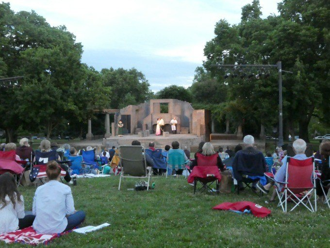 Schiller Park has regular performances during the summer like this Shakespeare in the Park production of Othello.