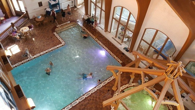 An aerial view of one of the pools at the Frankenmuth Bavarian Inn Lodge