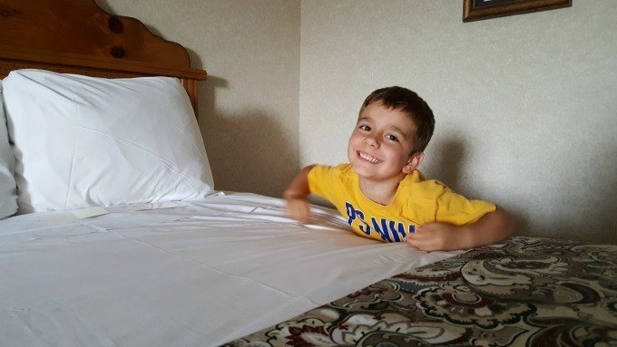 Braxton at our room in Frankenmuth
