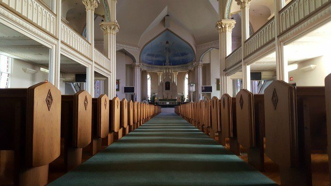 Inside St. Lorenz Lutheran Church in Frankenmuth