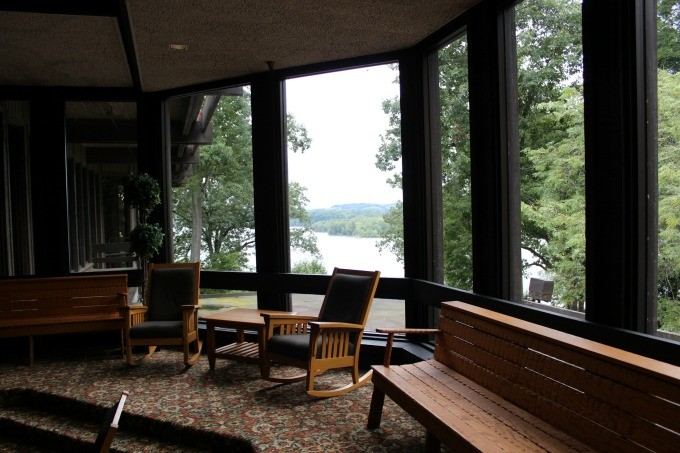 Looking out on Pleasant Valley Lake from the lobby of Mohican State Park Lodge