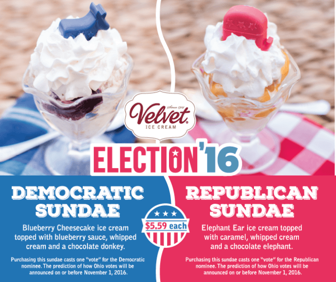 Cast your vote this election year when you purchase a Republican and Democratic Sundae at Ye Olde Mill. How will Ohio vote?