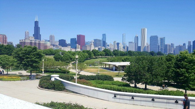 The Chicago Skyline as seen from the Museum Circle.