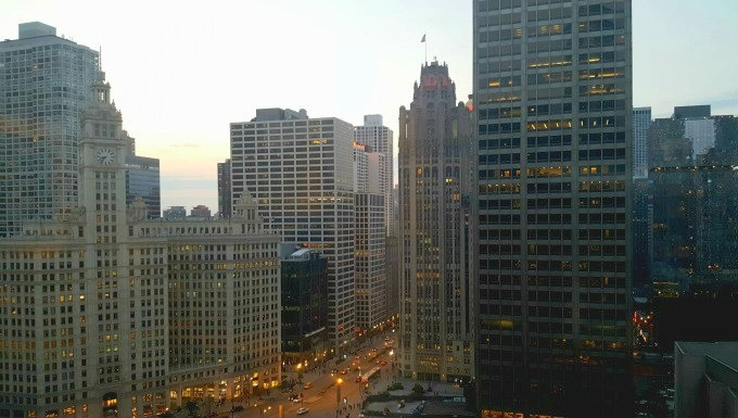 The view from the 23rd floor of the Hyatt Regency Chicago