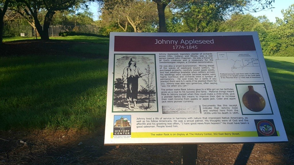 Placard at Johnny Appleseed's gravesite that tells about his life.