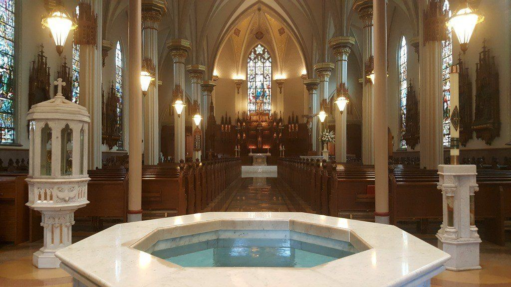 A glimpse inside the Cathedral of Immaculate Conception in Fort Wayne, Indiana.