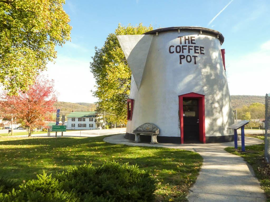 The Giant Coffee Pot is located along Old Route 30 in Bedford, Pennsylvania.