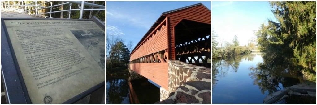 Collage of Sachs Covered Bridge Photos