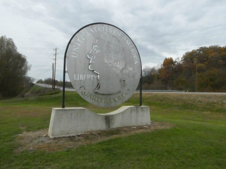 Giant Quarter Roadside Attraction in Pennsylvania