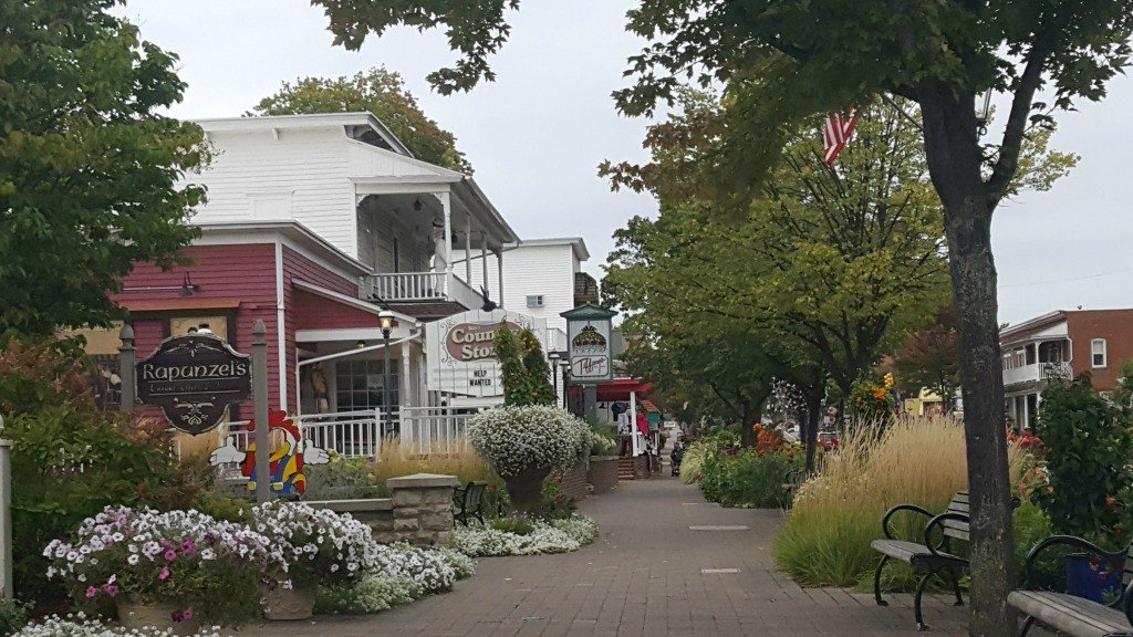 Walking along the street in downtown Frankenmuth
