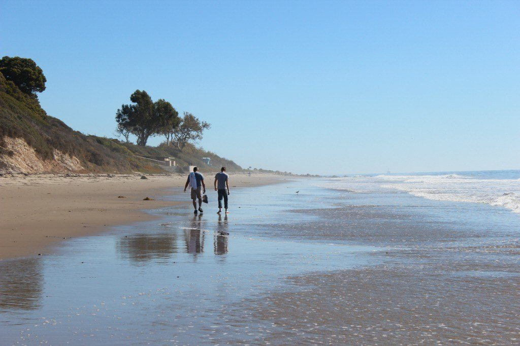 Walking along the beach in California