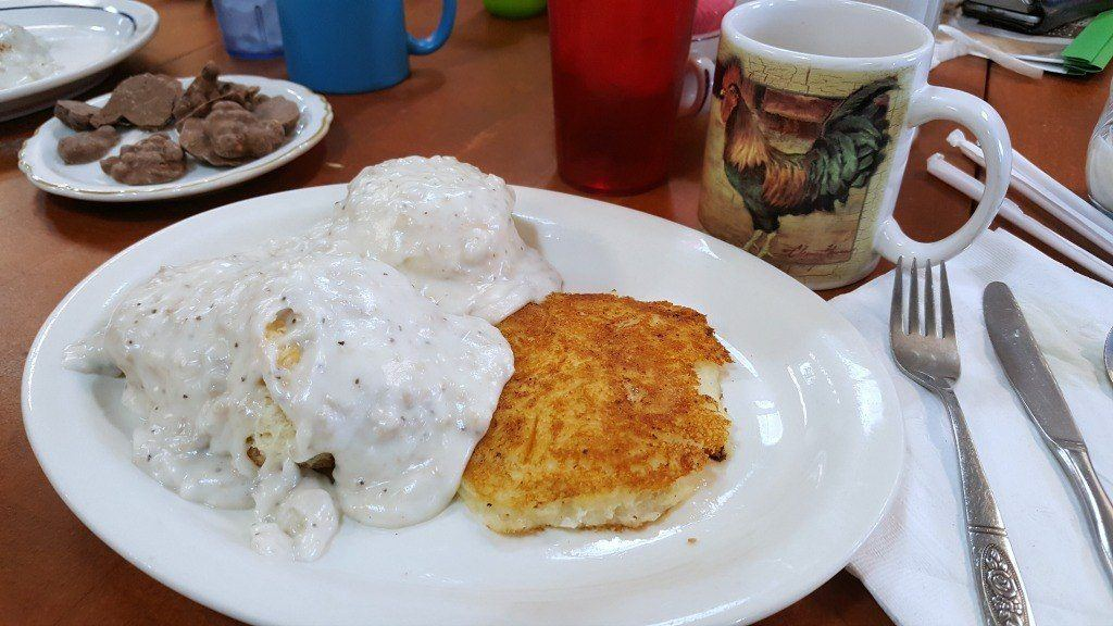 Sausage Gravy and Biscuits at Pearl's in Hocking Hills