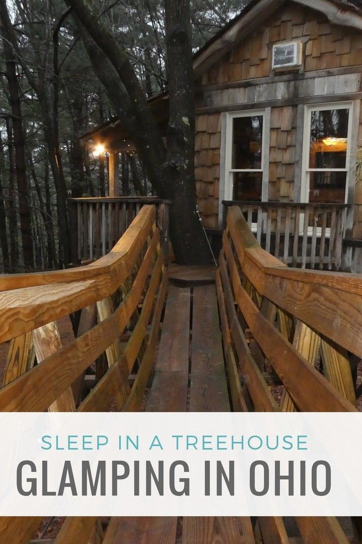 Go glamping in Ohio and sleep in a treehouse at The Mohicans treehouse village near Glenmont.