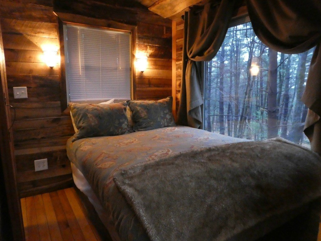 One of two bedrooms in the Old Pine Treehouse