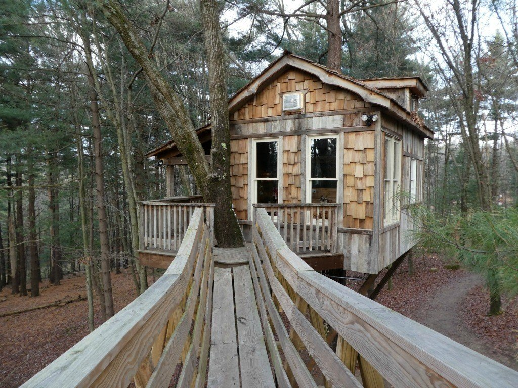 Glamping in Ohio at the Old Pine Treehouse at The Mohicans treehouse village.