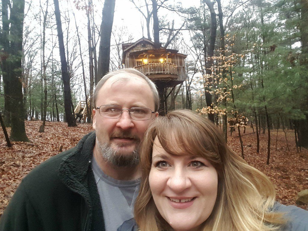 At the treehouse with my husband.