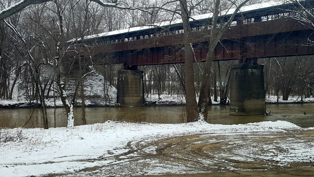The Bridge of Dreams spanning the Mohican River in the Snow