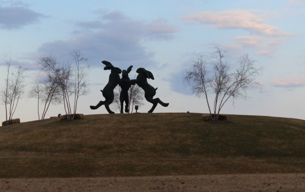 Dancing Hares in Dublin, Ohio Roadside Attraction