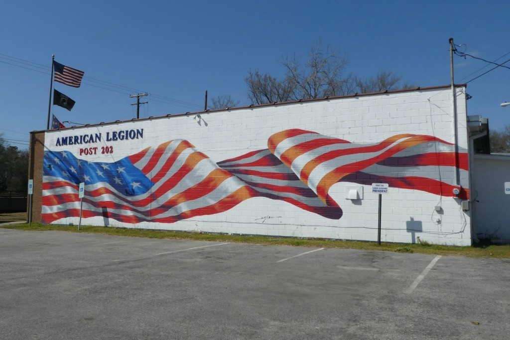 Mural in Fayetteville at the American Legion