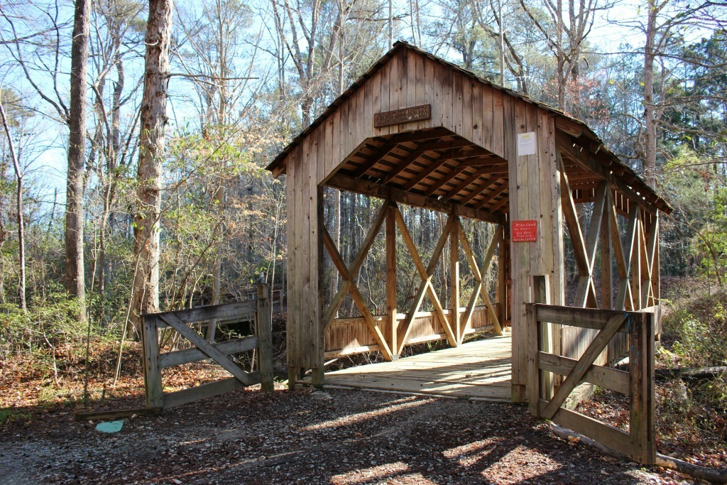Things to do in Fayetteville North Carolina- Clark Park Covered Bridge