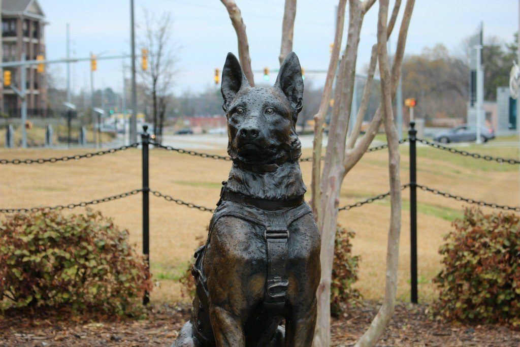 The Constant Vigilance Statue located in Fayetteville, North Carolina pays homage to the SOF canines killed in the line of duty.