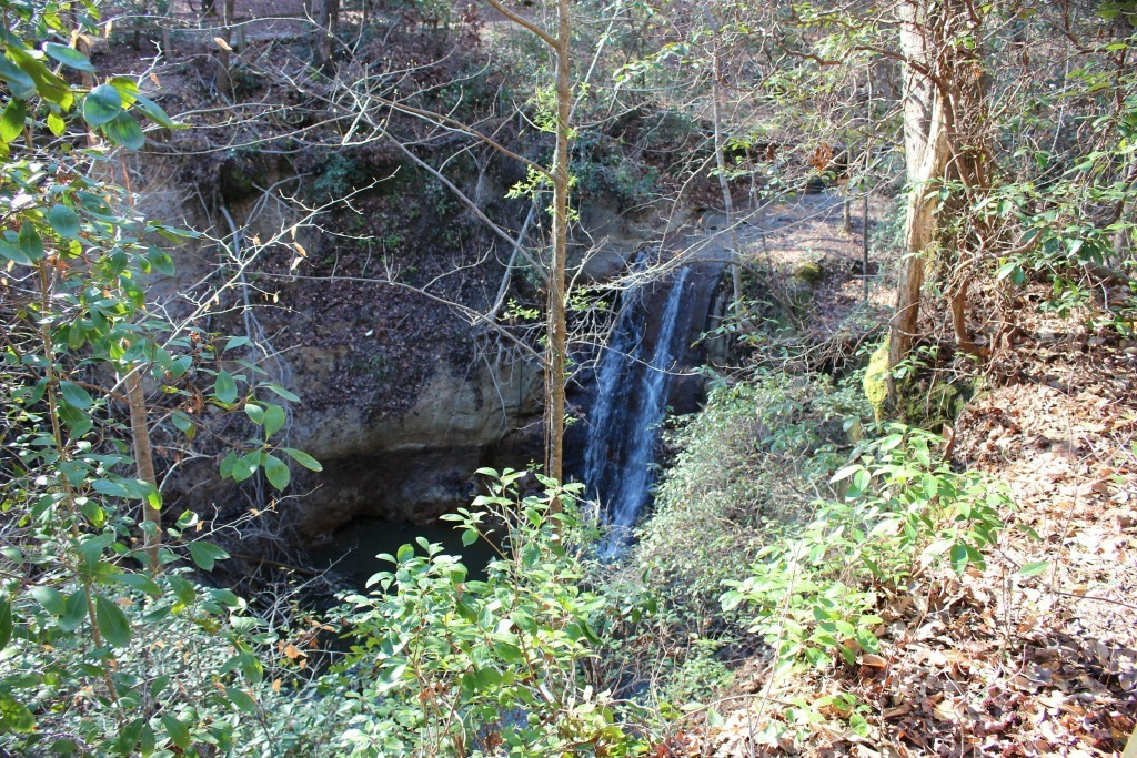 Things to do in Fayetteville North Carolina- waterfall scenic view at Clark Park
