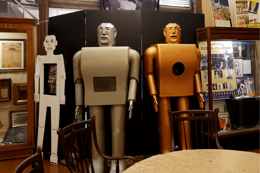 A museum display of early robots made by Westinghouse.