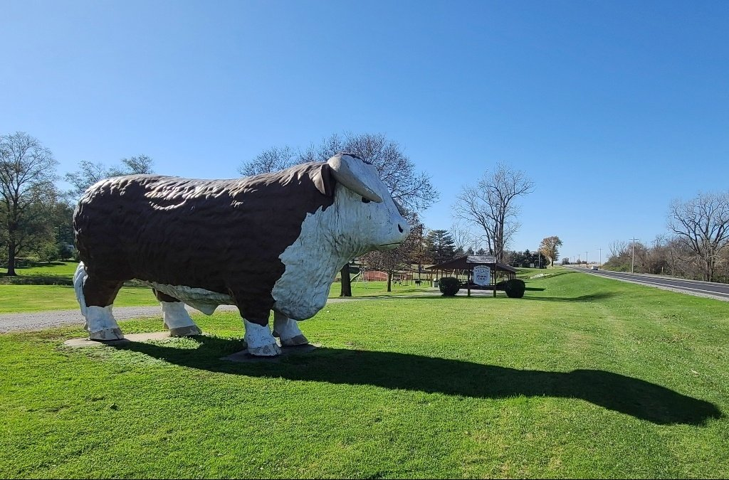 A giant fiberglass bull near a road