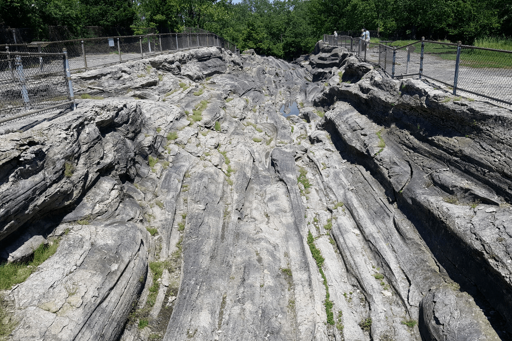 These glacial grooves are located on an island in Lake Erie off the coast of Ohio.