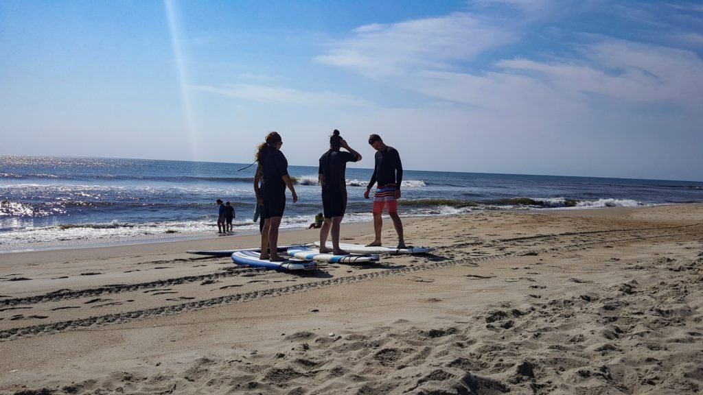 Preparing to surf in the Outer Banks.