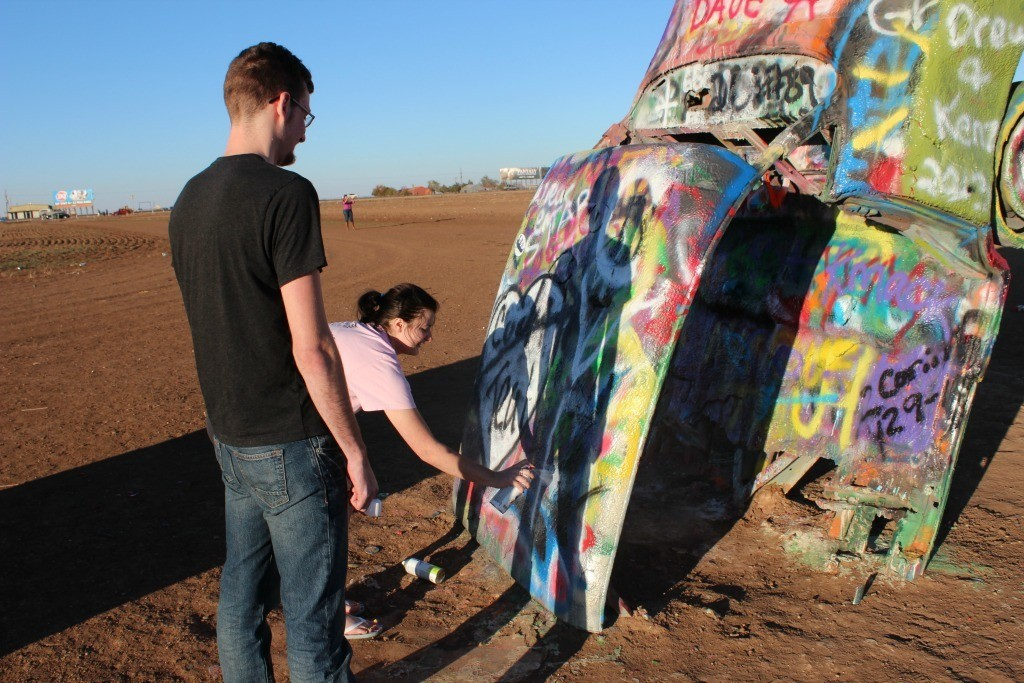 Painting the Cadillacs at Cadillac Ranch