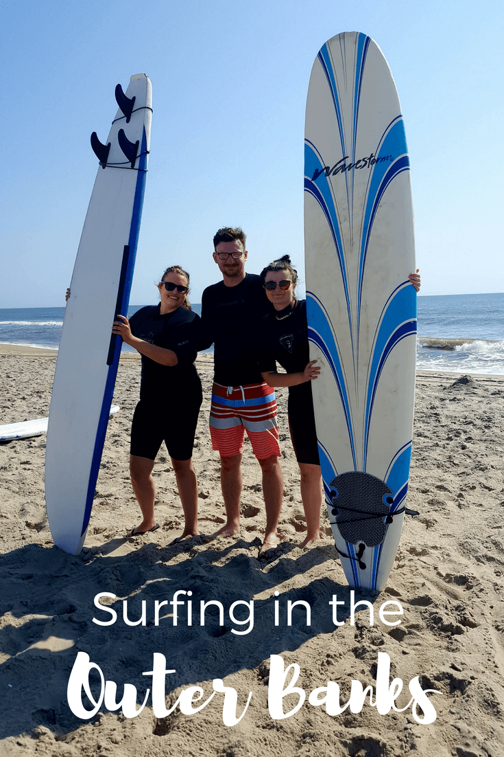 You can surf in the Outer Banks on vacation. Private or group lessons are available.