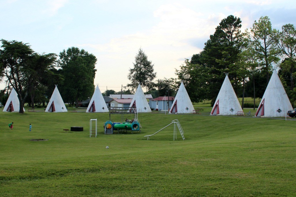 Teepees surround the office