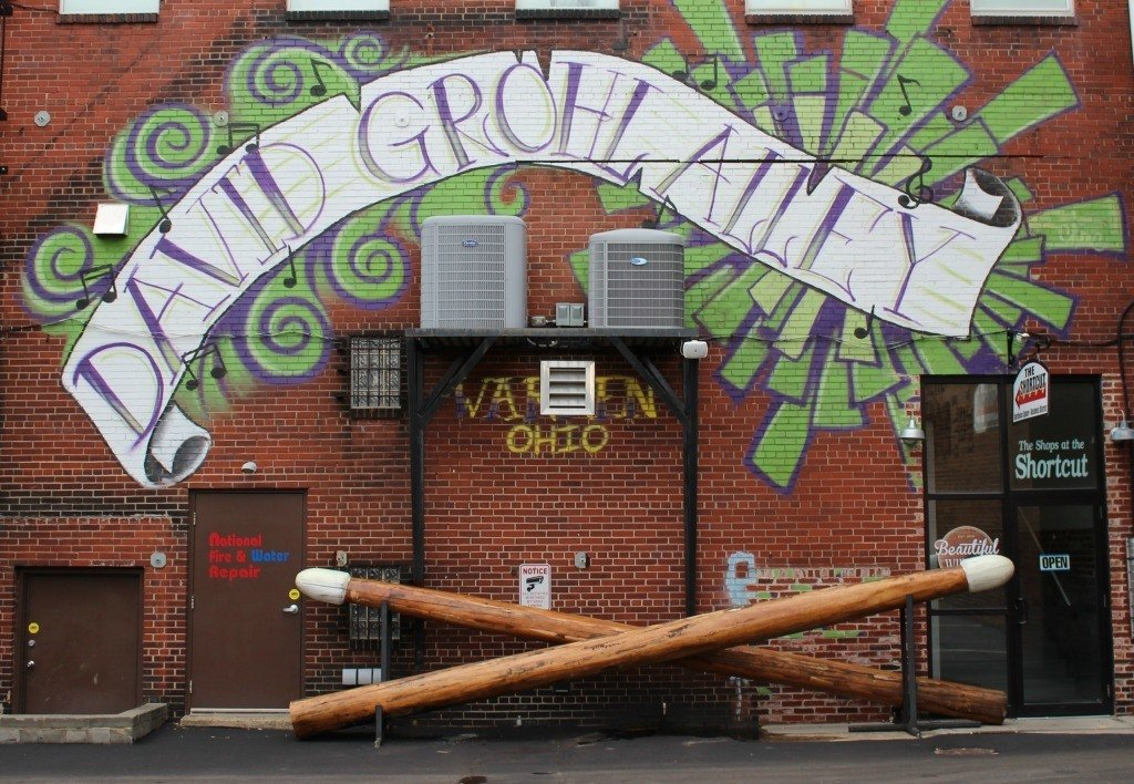 The World's Largest Drum Sticks Roadside Attraction in the David Grohl Alley in Warren, Ohio