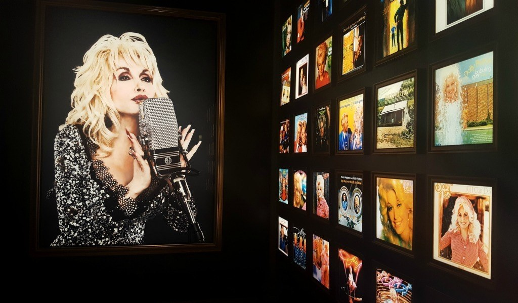 Dolly's wall of albums