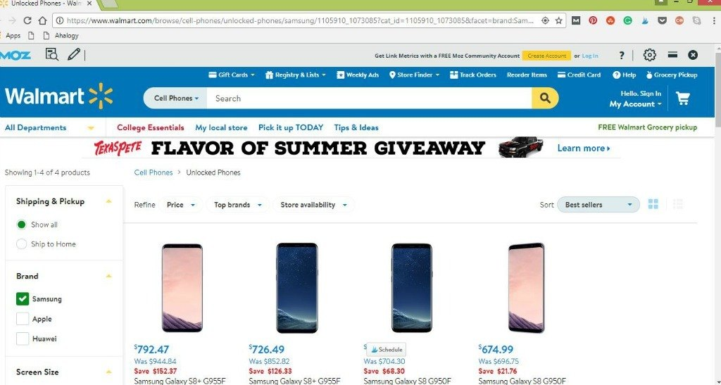 Samsung Galaxy 8 and SG8+ are available unlocked for purchase at Walmart online.