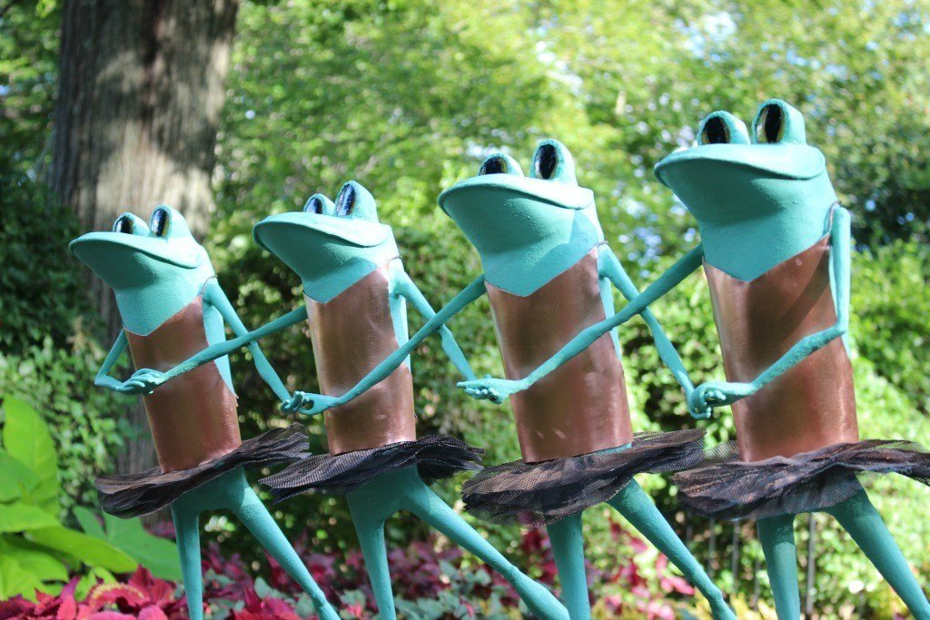 The ballet frogs are part of the Ribbit the Exhibit display at Kingwood Center.