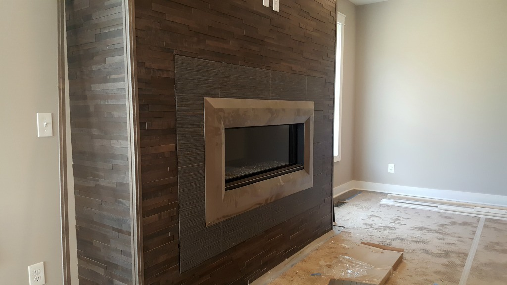 reclaimed barn wood on fireplace