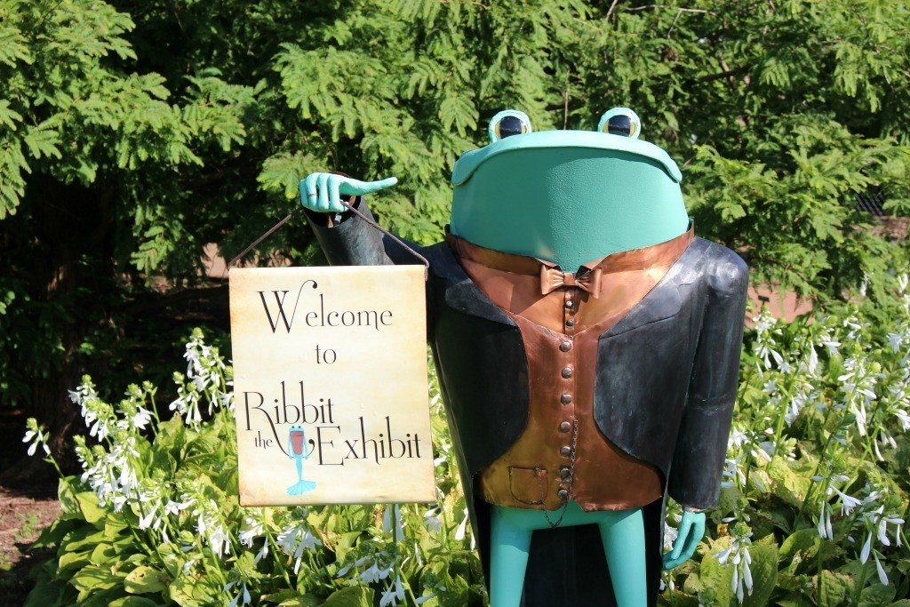 This frog welcomes guests at Kingwood Center for Ribbit the Exhibit.