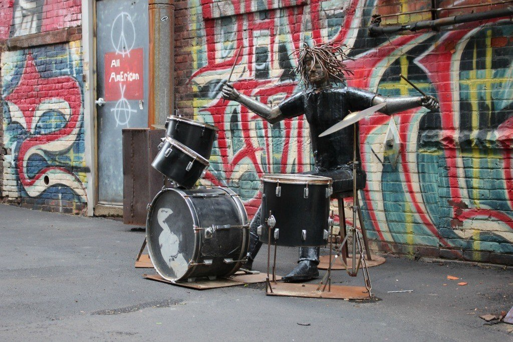 David Grohl Alley is full of murals, sculptures and the world's largest drum sticks.