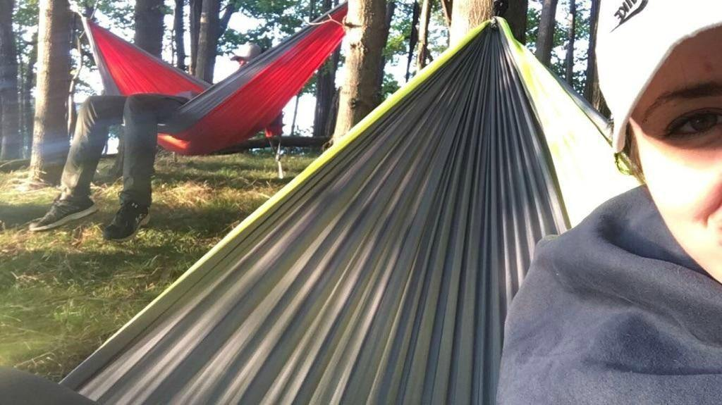 Relaxing in the Eno hammock after a hike.