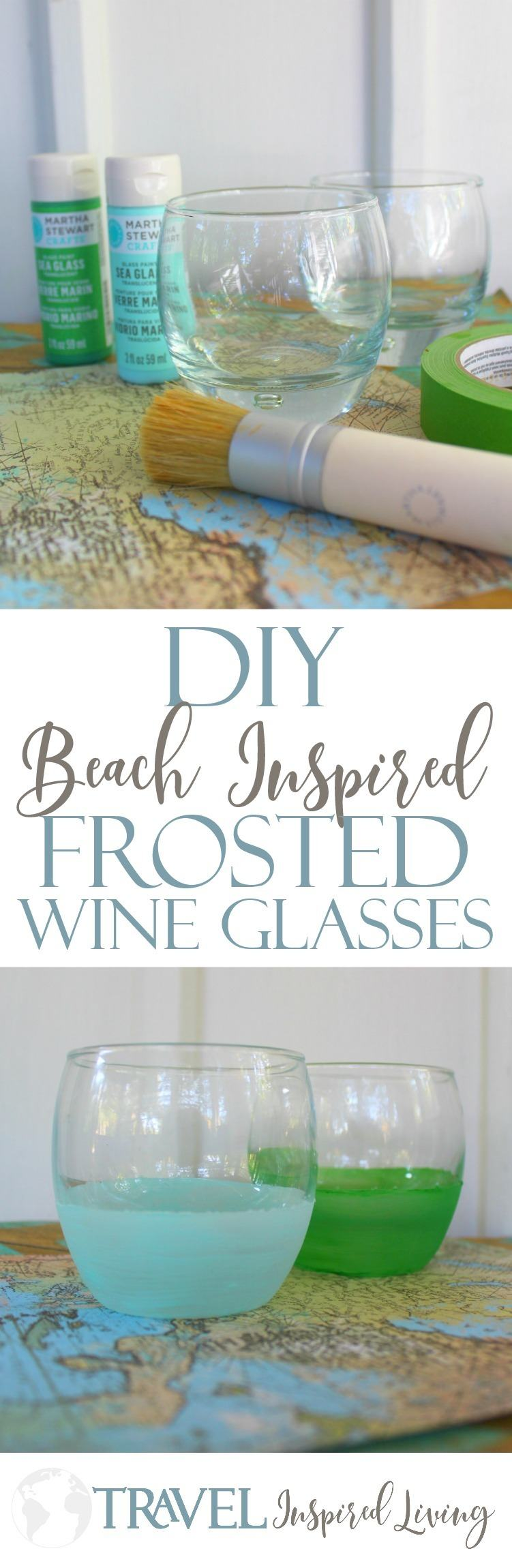 These DIY Beach Inspired Frosted Wine Glasses are super easy and inexpensive to make.