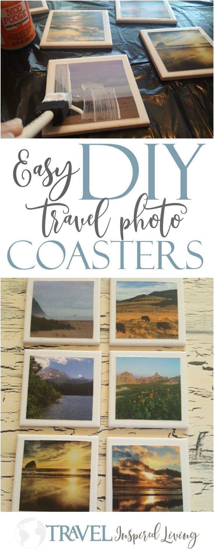 Easy DIY travel photo souvenir coasters