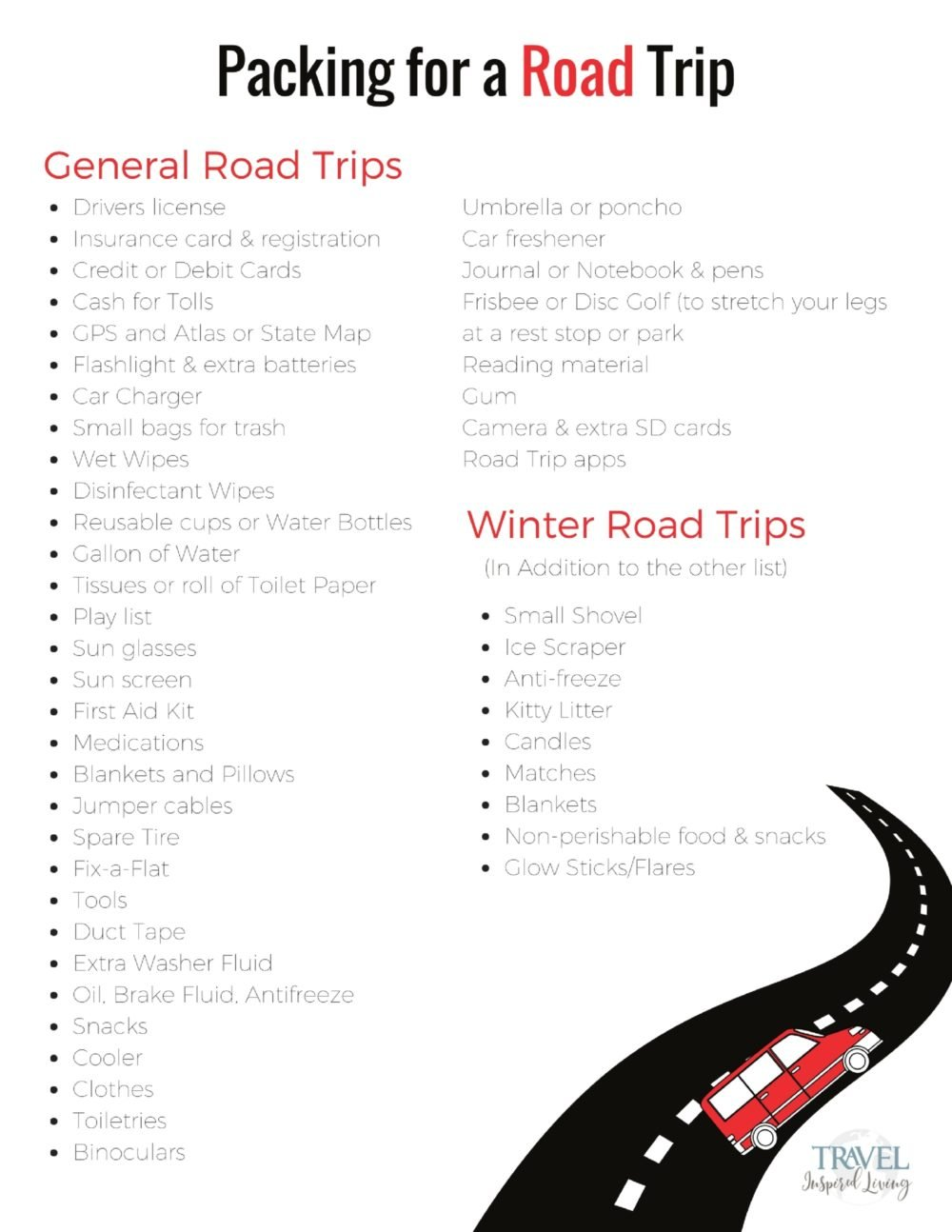 Packing for a Road Trip Printable