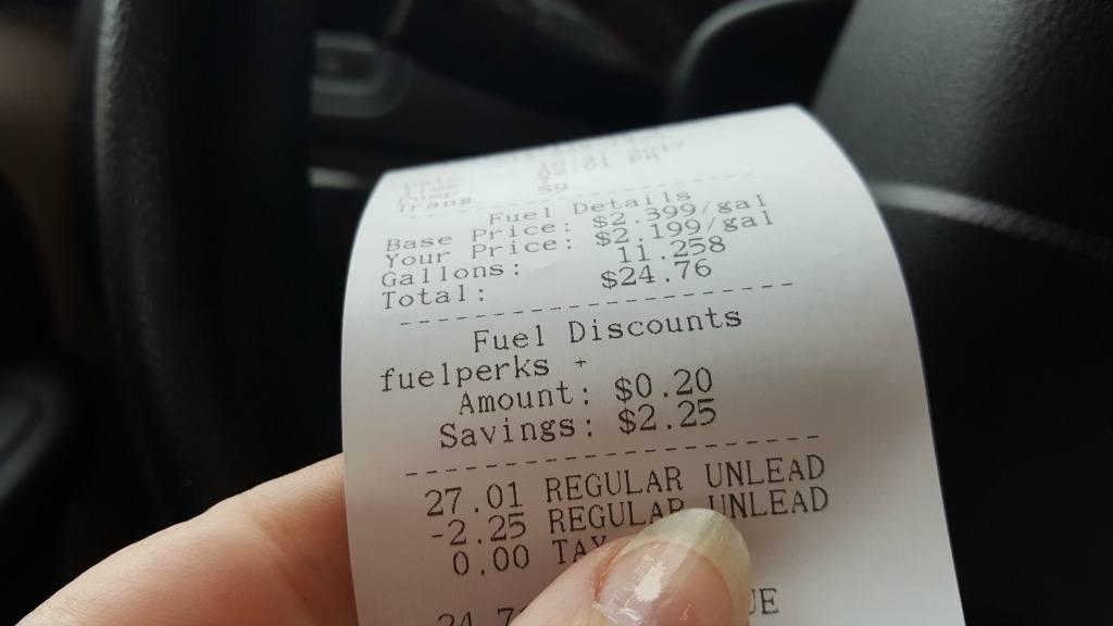 Saving 20 cents on gas