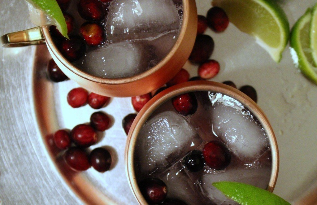 Cranberry Moscow Mule Mocktail made with Root 23 Vanilla Ginger syrup.