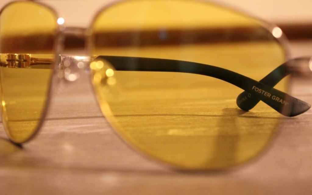 The Foster Grant logo on the Night Driver glasses.