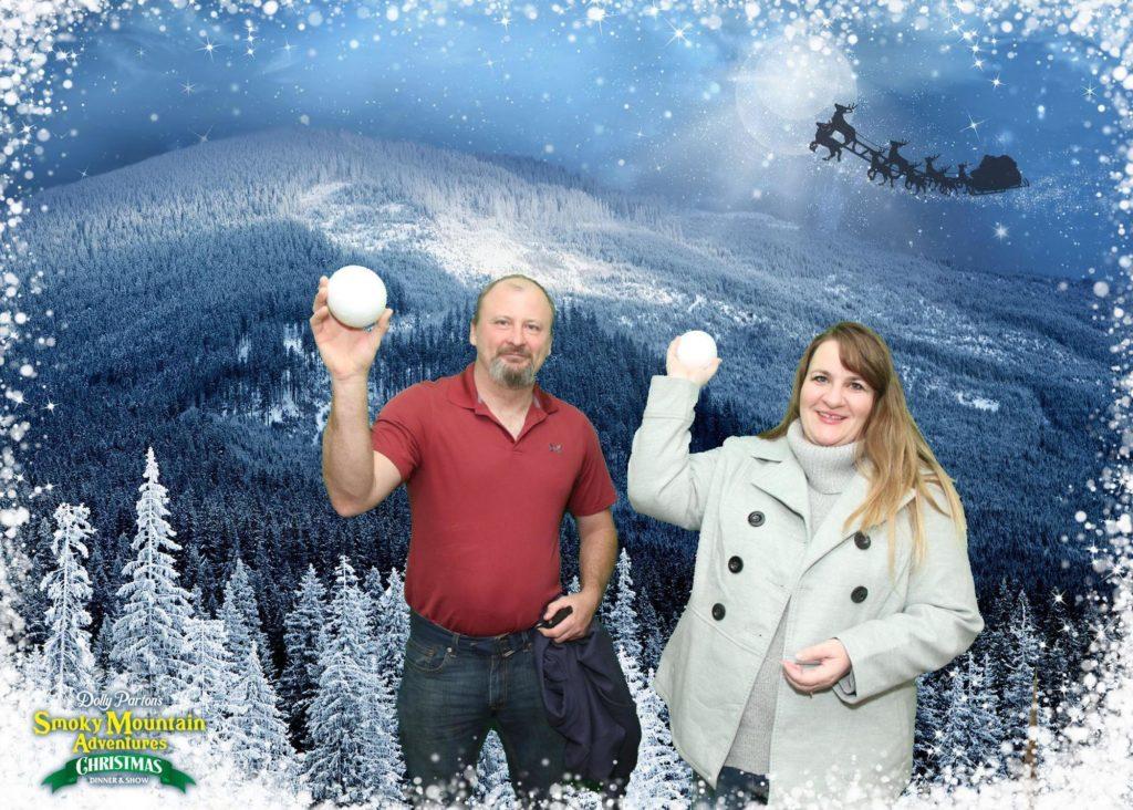 Dolly Parton's Smoky Mountain Christmas souvenir photo was too cute to pass up.