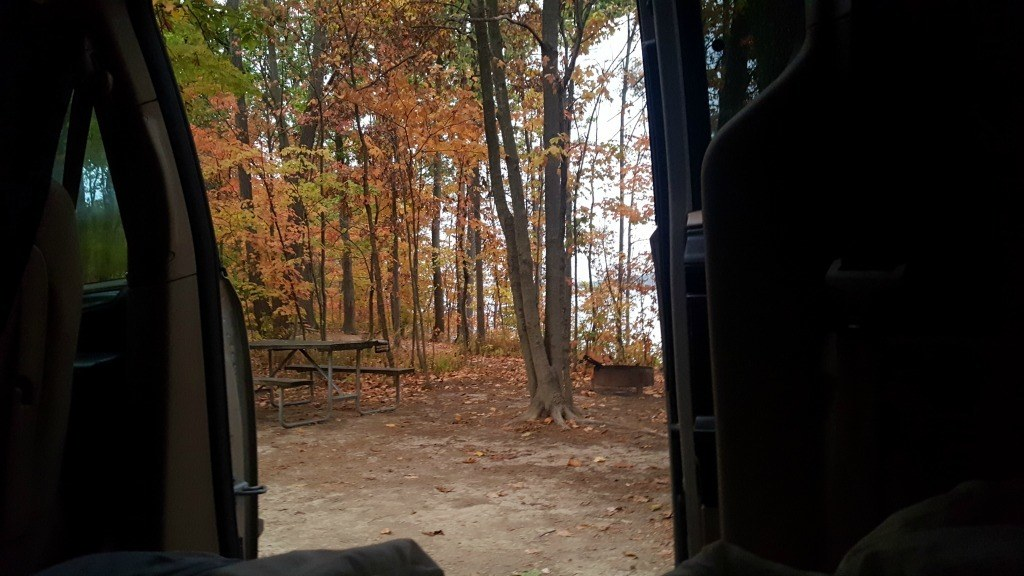 The view of the campsite from inside the van.