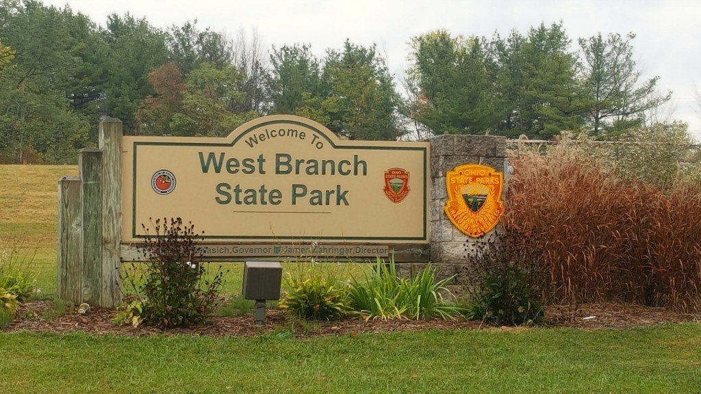 The West Branch State Park entrance sign.